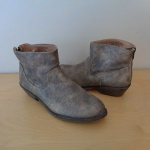 Express Metallic Zipper Booties Western Boots NEW